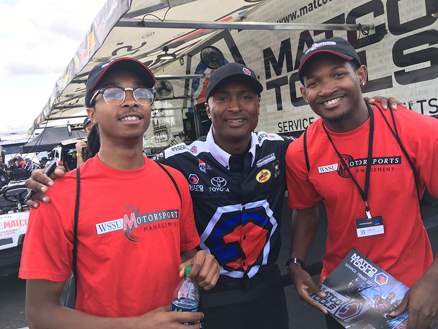 WSSU students on the track with NHRA driver Antron Brown