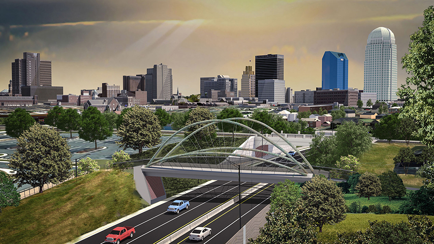 Business 40 rendering showing bridge with Winston-Salem's skyline in the background